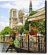 Restaurant On Seine Canvas Print
