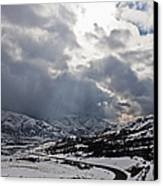 Road Through A Snowy Mountain Landscape Canvas Print