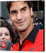 Roger Federer At A Public Appearance Canvas Print