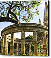 Rotunda Of Illustrious Jalisciences And Guadalajara Cathedral Canvas Print