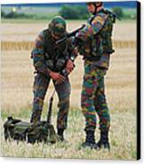 Soldiers Of The Belgian Army Canvas Print by Luc De Jaeger