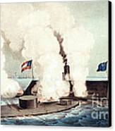 The Monitor And The Merrimac, 1862 Canvas Print