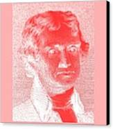 Thomas Jefferson In Negative Red Canvas Print by Rob Hans