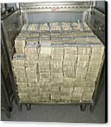 Us Dollar Bills In A Bank Cart Canvas Print by Adam Crowley