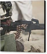 U.s. Marine Firing A Pk 7.62mm Machine Canvas Print