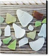 Usa, New York State, New York City, Brooklyn, Collection Of Sea Glass Canvas Print by Jamie Grill