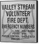 Valley Stream Fire Department In Black And White Canvas Print