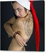 Young Woman Wearing Santa Hat Canvas Print by Ilan Rosen