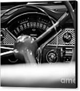 1955 Chevy Bel Air Dashboard In Black And White Canvas Print by Sebastian Musial