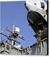 A Soldier Fast-ropes From The Rear Canvas Print