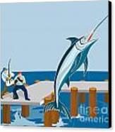 Blue Marlin Fish Jumping Retro Canvas Print
