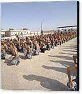 Iraqi Police Cadets Being Trained Canvas Print by Andrew Chittock