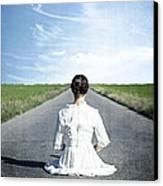 Lady On The Road Canvas Print