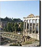 Temple Of Saturn In The Forum Romanum. Rome Canvas Print by Bernard Jaubert