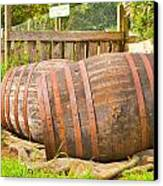 Wooden Barrels Canvas Print