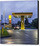 Estonian Gas Station At Night Canvas Print