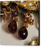 3 Hanging Semi-precious Stones Attached To A Green And Gold Necklace Canvas Print by Ashish Agarwal