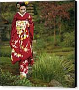 Kimono-clad Geisha In A Park Canvas Print by Justin Guariglia