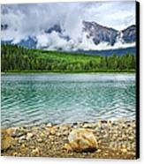 Mountain Lake In Jasper National Park Canvas Print by Elena Elisseeva