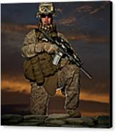 Portrait Of A U.s. Marine In Uniform Canvas Print by Terry Moore