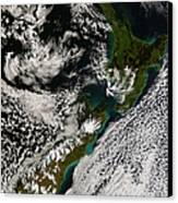 Satellite View Of New Zealand Canvas Print
