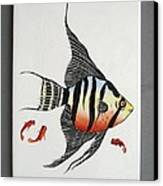 361 Tile With Fishes Canvas Print by Wilma Manhardt