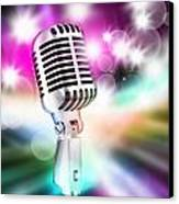 Microphone On Stage Canvas Print by Setsiri Silapasuwanchai