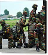 Belgian Paracommandos Entering Canvas Print by Luc De Jaeger
