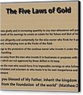 5 Laws Of Gold Canvas Print by Ricky Jarnagin