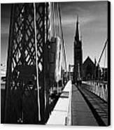 Pedestrian Suspension Footbridge The Greig Street Bridge Over The River Ness Inverness Highland Scot Canvas Print by Joe Fox