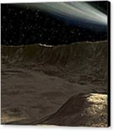 A Comet Passes Over The Surface Canvas Print by Ron Miller