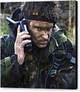 A Dutch Patrol Commander Communicates Canvas Print