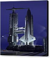 A Futuristic Space Shuttle Awaits Canvas Print by Walter Myers
