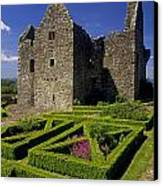 A Garden In Front Of Tully Castle Near Canvas Print