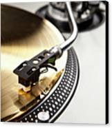 A Gold Record On A Turntable Canvas Print by Caspar Benson
