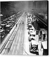 A Heavy Snowfall, 42nd Street, Looking Canvas Print