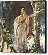 A Midsummer Night's Dream Hermia And The Fairies Canvas Print by John Simmons