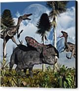 A Pair Of Velociraptors Attack A Lone Canvas Print
