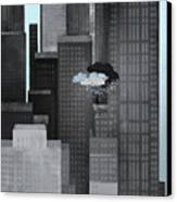 A Person On A Skyscraper Under A Storm Cloud Getting Rained On Canvas Print
