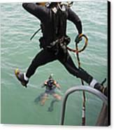 A Photographer Documents A Navy Diver Canvas Print