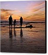 A Rear View Of A Family With One Child Canvas Print by James Forte
