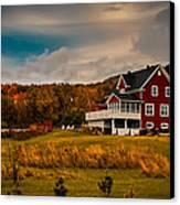 A Red Farmhouse In A Fallscape Canvas Print by Chantal PhotoPix