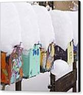 A Row Of Mailboxes In Winter Canvas Print by Ralph Lee Hopkins