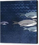A Small Fish Chasing Three Sharks Canvas Print by Jutta Kuss