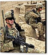 A Soldier Calls In Description Canvas Print