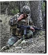 A Soldier Communicates His Position Canvas Print
