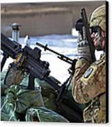 A Soldier Keeps A Close Watch Canvas Print