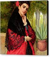 A Spanish Beauty Canvas Print by John-Bagnold Burgess