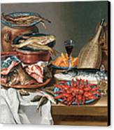 A Still Life Of A Fish Trout And Baby Lobsters Canvas Print