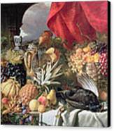 A Still Life Of Game Birds And Numerous Fruits Canvas Print by William Duffield